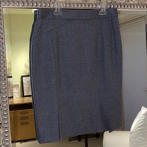 Ted Baker Heather Gray Wool Pencil Skirt pleating